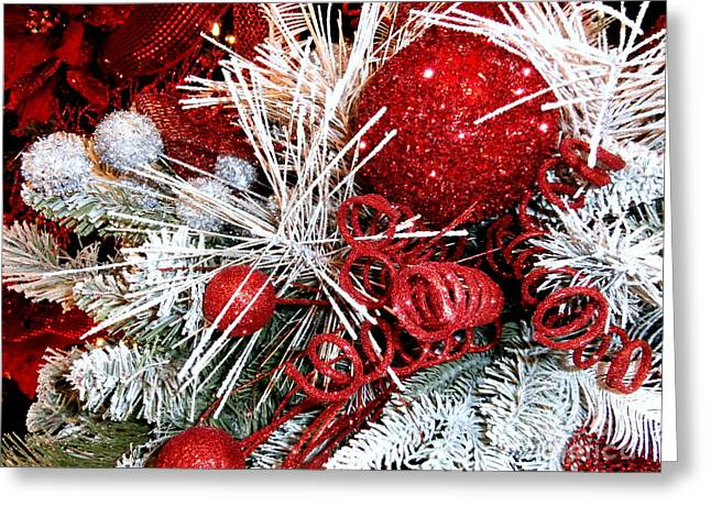 Festive Red And White Greeting Card by Janine Riley