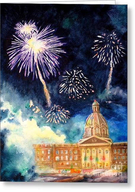 Pyrotechnics Paintings Greeting Cards - Festive Season Greeting Card by Mohamed Hirji