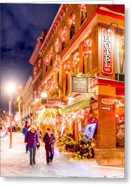 Old City Prints Greeting Cards - Festive Streets of Old Quebec Greeting Card by Mark Tisdale