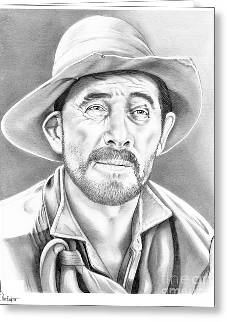 Western Pencil Drawings Greeting Cards - Festus-Ken Curtis Greeting Card by Murphy Elliott