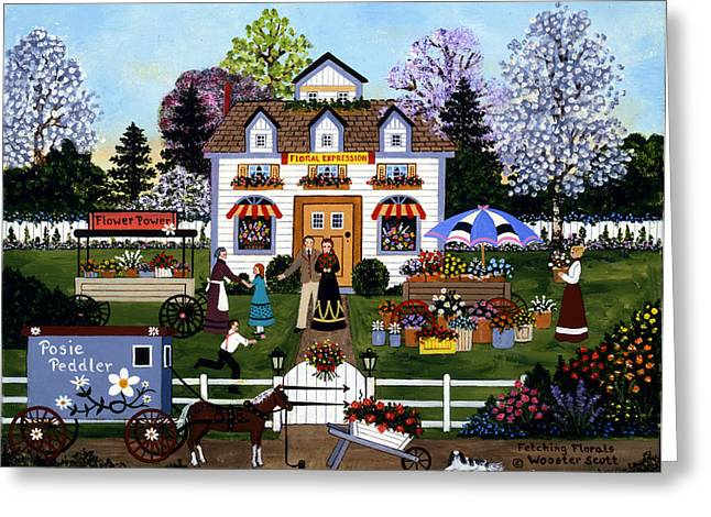 Horse And Buggy Paintings Greeting Cards - Fetching Florals Greeting Card by Jane Wooster Scott