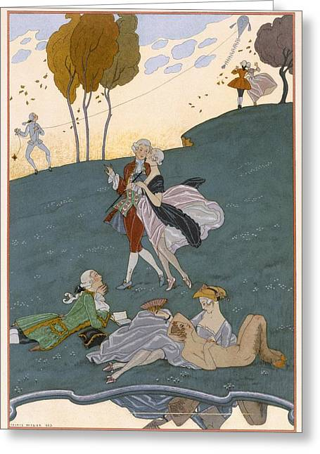 Kite Paintings Greeting Cards - Fetes Galantes Greeting Card by Georges Barbier