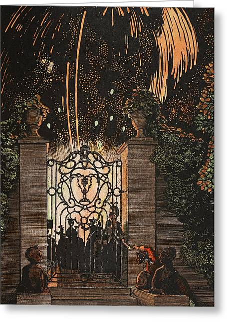 18th Century Greeting Cards - Feu d artifice Greeting Card by Konstantin Andreevic Somov