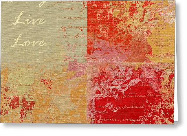 Nature Abstract Greeting Cards - Feuilleton de Nature - Laugh Live Love - 01at01 Greeting Card by Variance Collections
