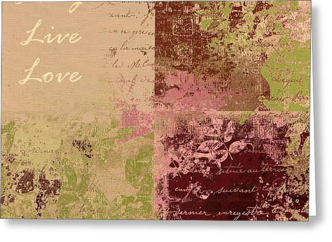 Moss Green Greeting Cards - Feuilleton De Nature - Laugh Live Love - 01c4at Greeting Card by Variance Collections