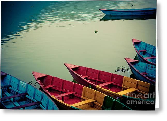 Himalayas Greeting Cards - Fewa lake with boat Pokhara Greeting Card by Raimond Klavins