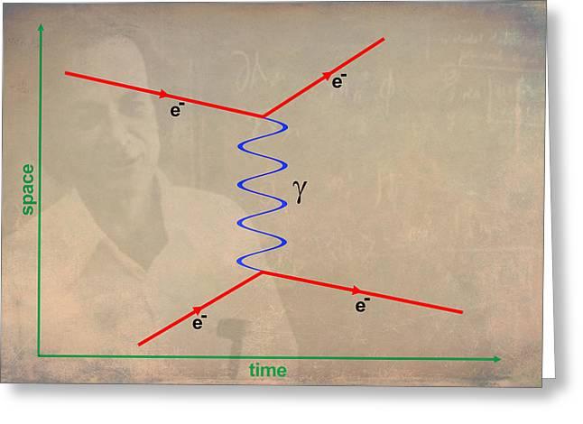 Quantum Mechanics Greeting Cards - Feynman Diagram Greeting Card by Ram Vasudev
