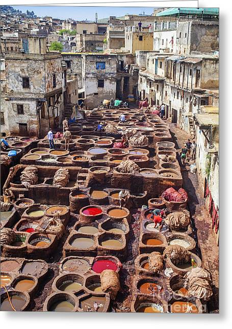 Smelly Greeting Cards - Fez tannery Greeting Card by Patricia Hofmeester