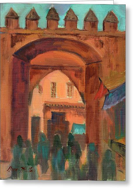 Building. Home Greeting Cards - Fez Town Scene Greeting Card by Diane McClary