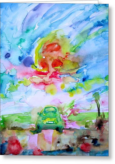 Fiat 500 Greeting Cards - Fiat 500 Greeting Card by Fabrizio Cassetta