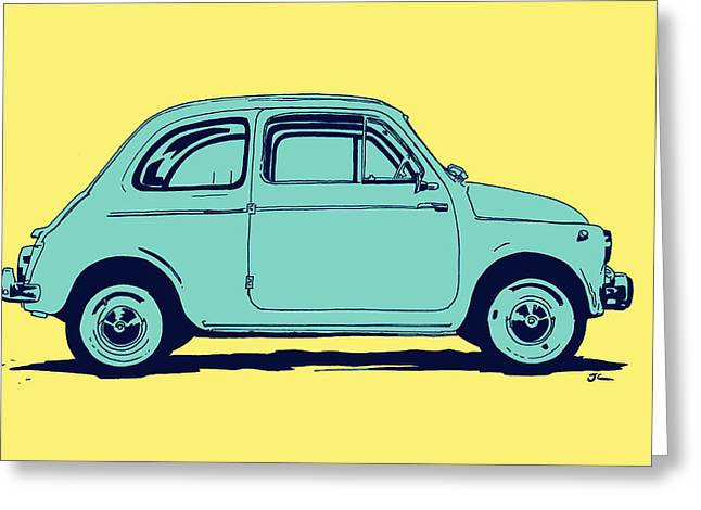 Arts Greeting Cards - Fiat 500 Greeting Card by Giuseppe Cristiano