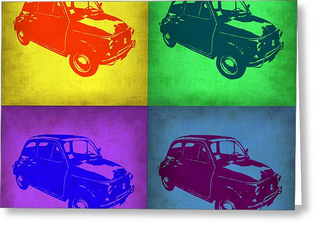 Fiat 500 Greeting Cards - Fiat 500 Pop Art 1 Greeting Card by Naxart Studio