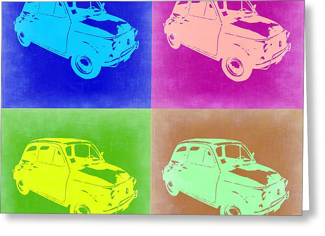Fiat 500 Greeting Cards - Fiat 500 Pop Art 2 Greeting Card by Naxart Studio