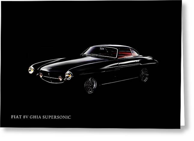 Supersonics Greeting Cards - Fiat 8v Supersonic Black Edition Greeting Card by Mark Rogan