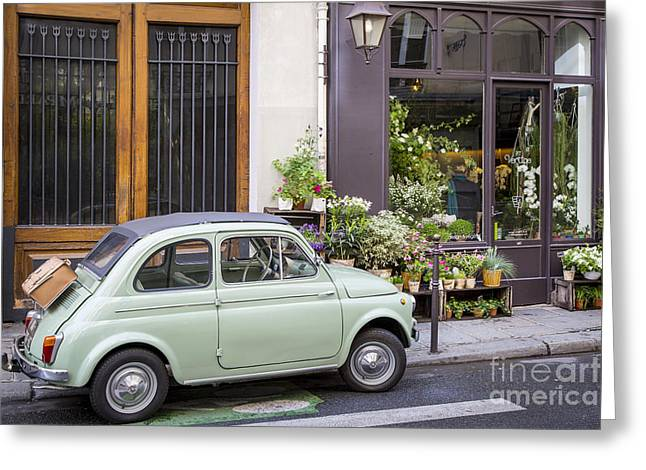European Flower Shop Greeting Cards - Fiat and Flowers Greeting Card by Brian Jannsen