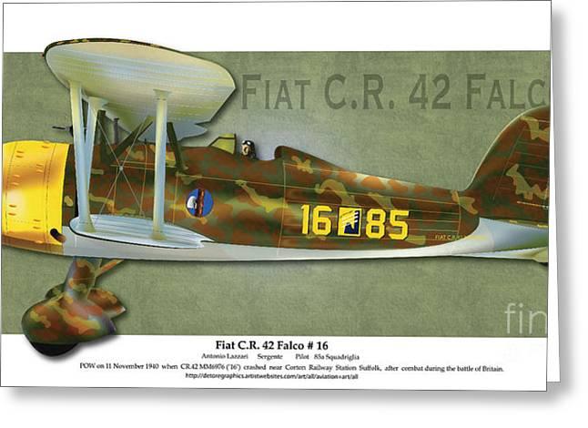 Ww1 Greeting Cards - Fiat C.R. 42 Greeting Card by Kenneth De Tore