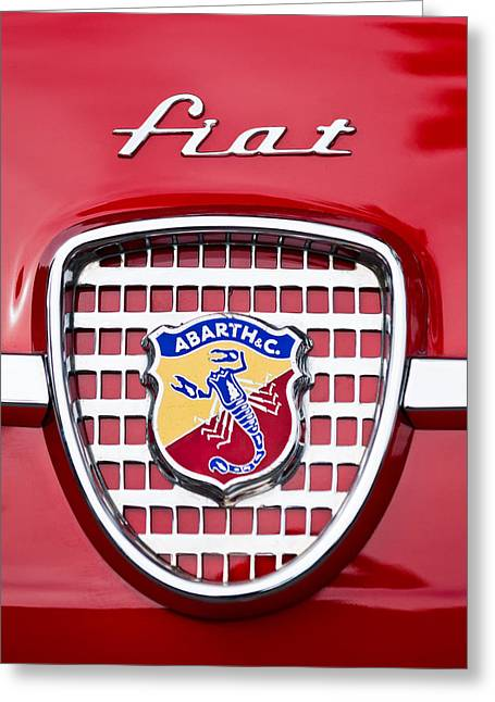 Car Show Photography Greeting Cards - Fiat Emblem 2 Greeting Card by Jill Reger