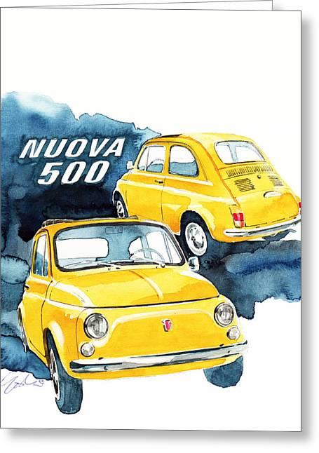 Fiat 500 Greeting Cards - Fiat Nuovo 500 Greeting Card by Yoshiharu Miyakawa