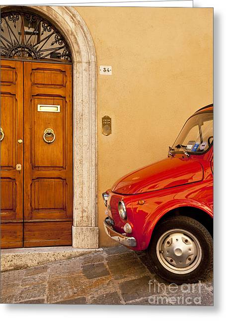 Entryway Greeting Cards - Fiat Parking Greeting Card by Brian Jannsen