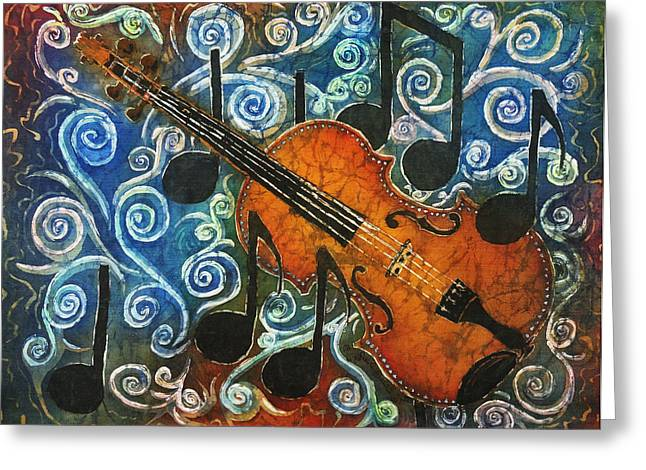 Music Time Tapestries - Textiles Greeting Cards - Fiddle 1 Greeting Card by Sue Duda