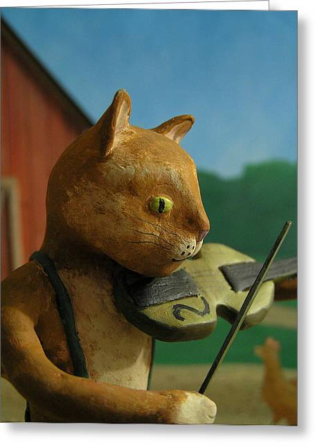 Nursery Rhyme Mixed Media Greeting Cards - Fiddle Cat 2 Greeting Card by Jennifer Montgomery