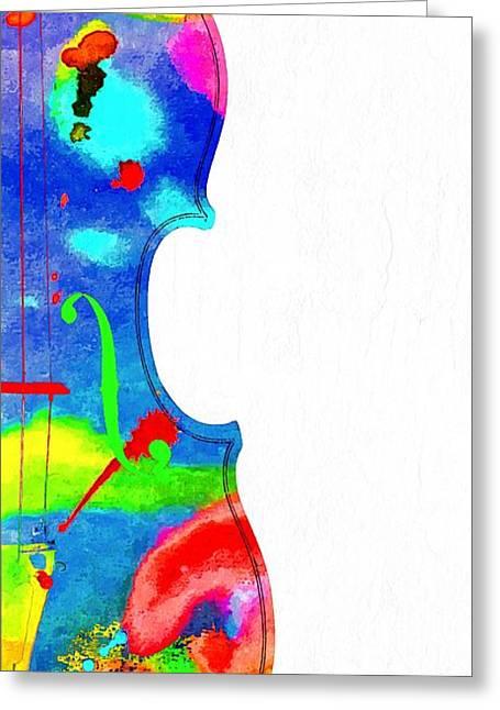 Fiddle Grunge Greeting Card by Daniel Janda