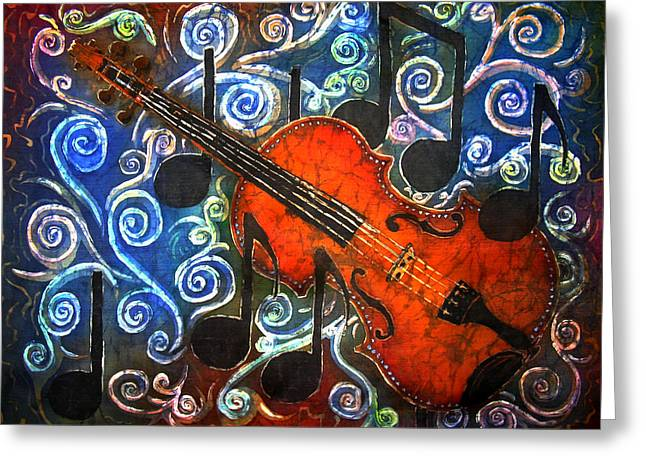 Cross Tapestries - Textiles Greeting Cards - Fiddle - Violin Greeting Card by Sue Duda