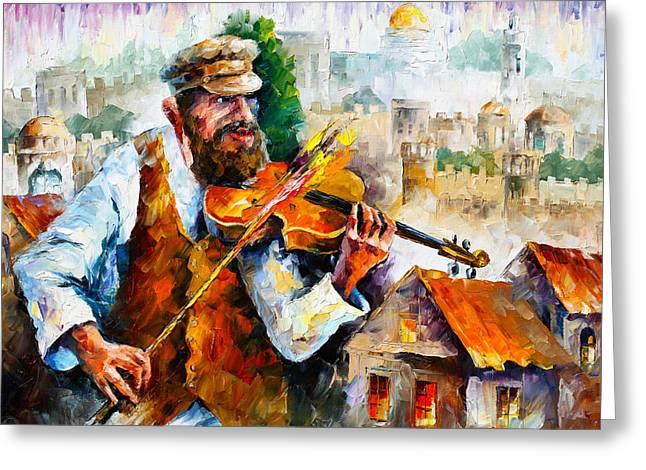 Judaic Greeting Cards - Fiddler  in Jerusalem 2 NEW Greeting Card by Leonid Afremov
