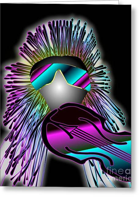 Technical Digital Art Greeting Cards - Fiddler in the Band Electric Greeting Card by Janice Rae Pariza