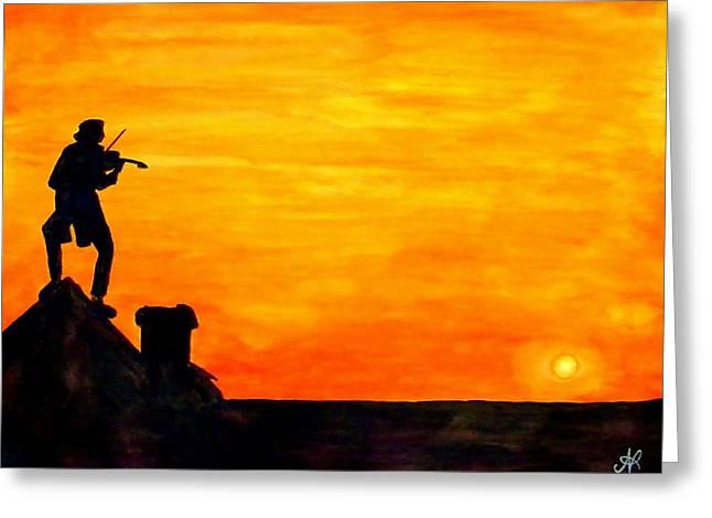 Fiddler On The Roof Greeting Cards - Fiddler on the Roof Greeting Card by Nieve Andrea