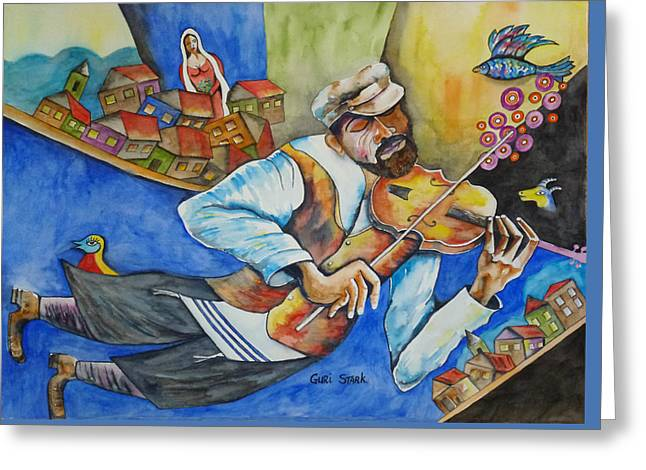 Fiddler On The Roofs Greeting Card by Guri Stark