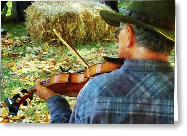 Violins Greeting Cards - Fiddler Greeting Card by Susan Savad