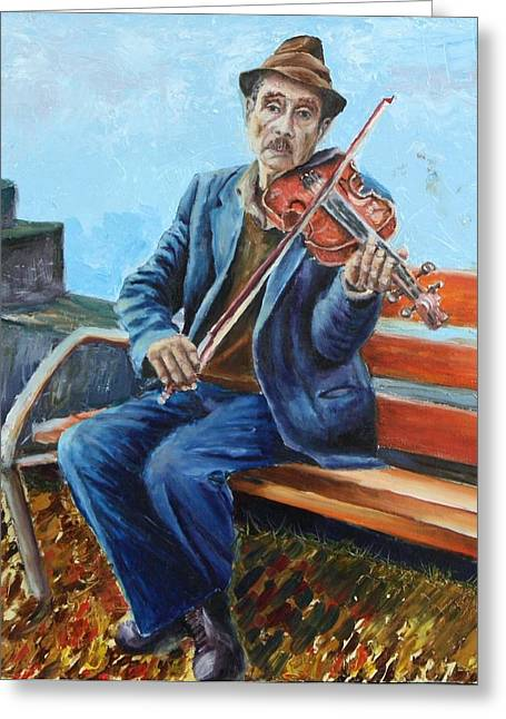 Moment Of Life Greeting Cards - Fiddler Greeting Card by Vita Schagen