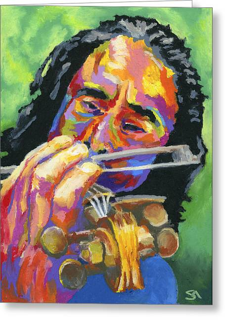 Wooden Hand Greeting Cards - Fiddling for Free Greeting Card by Stephen Anderson