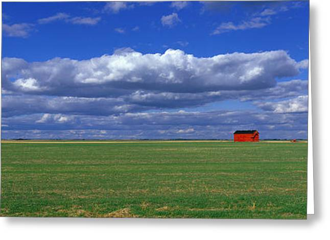 Infinite Greeting Cards - Field And Barn, Saskatchewan, Canada Greeting Card by Panoramic Images