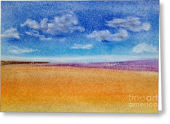 Field. Cloud Drawings Greeting Cards - Field and Clouds Greeting Card by Ursula Sellitto