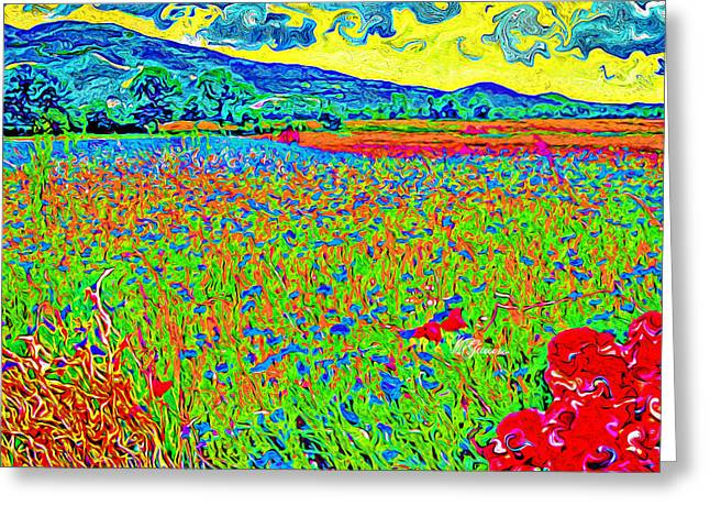 Tuscan Hills Digital Art Greeting Cards - Field covered by flowers and cloudy sky Greeting Card by Marzia Giacobbe