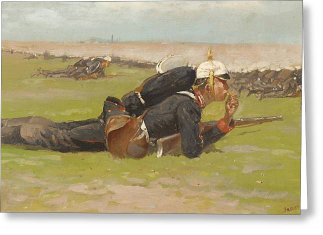Recruit Greeting Cards - Field Drill for the Prussian Infantry  Greeting Card by Frederic Remington