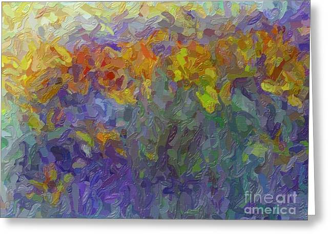 Gold Greeting Cards - Field Flowers Impressionist Abstract Greeting Card by Terri Gostola