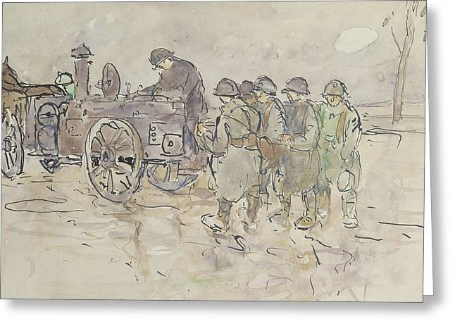 Horse Pulling Wagon Greeting Cards - Field Kitchen on the Road to Belfort Greeting Card by Louis Robert Antral