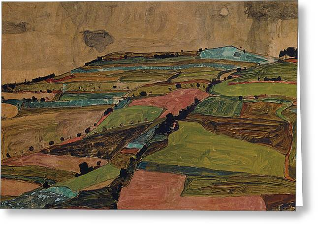 Distortion Paintings Greeting Cards - Field Landscape. Greeting Card by Celestial Images