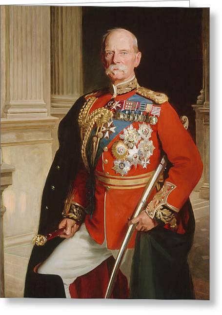 Three-quarter Length Paintings Greeting Cards - Field Marshal Lord Roberts Of Kandahar Greeting Card by Frank Markham Skipworth