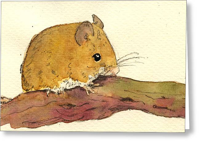 Mouse Greeting Cards - Field mouse Greeting Card by Juan  Bosco
