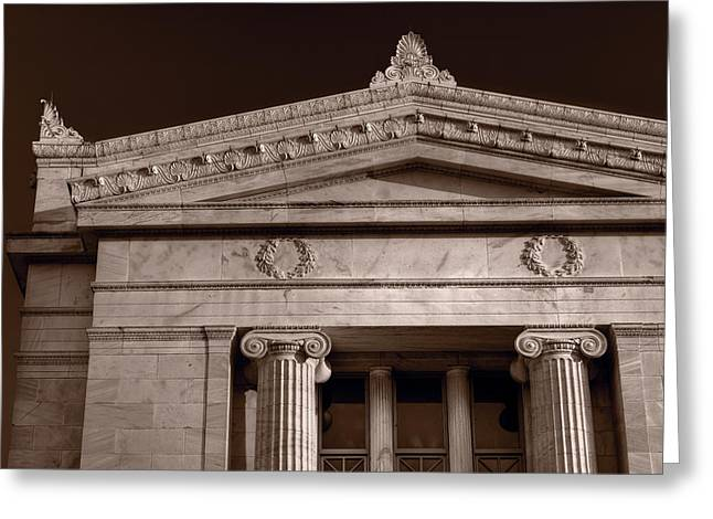 Institution Greeting Cards - Field Museum of Chicago BW Greeting Card by Steve Gadomski