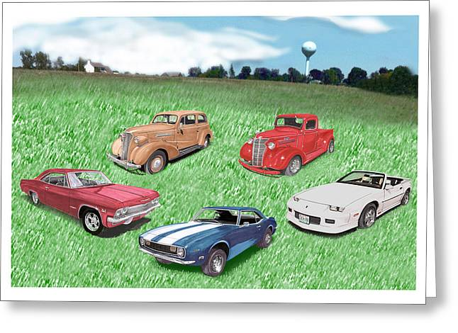 Collector Car Mixed Media Greeting Cards - Field of Chevys Greeting Card by Jack Pumphrey