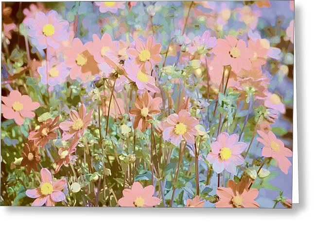 Watercolor! Art Photographs Greeting Cards - Field of Dahlias Greeting Card by Bonnie Bruno