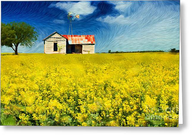 Red Farmhouse Greeting Cards - Field of Dreams Greeting Card by Betty LaRue