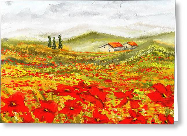 Golds Reds And Greens Greeting Cards - Field Of Dreams - Poppy Field Paintings Greeting Card by Lourry Legarde