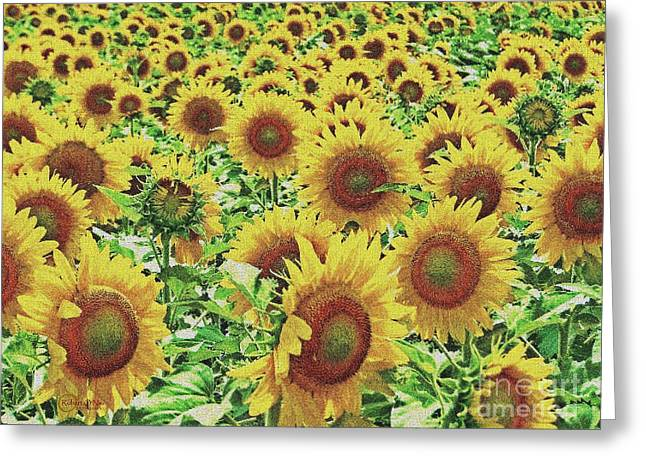 Recently Sold -  - Yellow Sunflower Greeting Cards - Field of Dreams Greeting Card by Robert ONeil