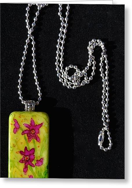 Green Abstract Jewelry Greeting Cards - Field Of Flowers Domino Pendant Greeting Card by Beverley Harper Tinsley